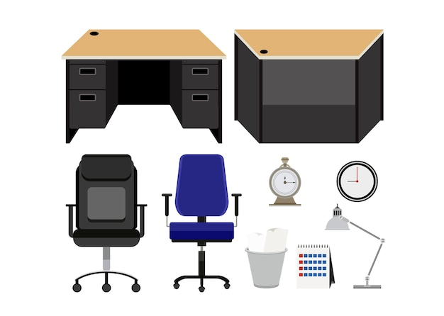 Collezione di mobili per ufficio isolato su sfondo bianco