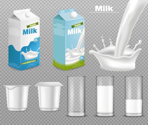 Collezione di mockup di pacchetti di latte e yogurt