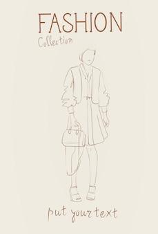 Collezione di moda di abiti femminili insieme di modelli di donna che indossa l'abito alla moda abbigliamento