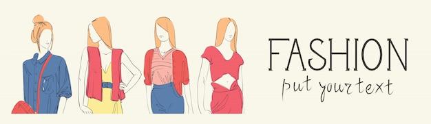 Collezione di moda di vestiti insieme di modelli maschili e femminili che indossano schizzo di abbigliamento alla moda