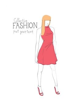 Collezione di moda di vestiti modello femminile che indossa abbigliamento alla moda