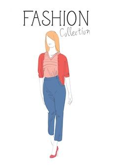 Collezione di moda di vestiti modello femminile indossando l'abito alla moda schizzo