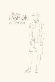 Collezione di moda di vestiti modello maschile indossando l'abito alla moda schizzo