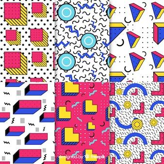 Collezione di modelli colorati di memphis