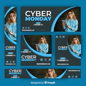 Collezione di modelli di banner di cyber lunedì