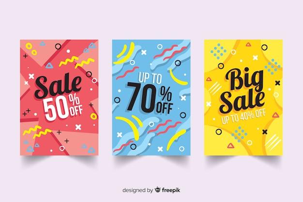 Collezione di modelli di banner di vendita di memphis