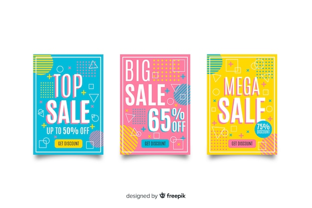 Collezione di modelli di banner di vendita memphis
