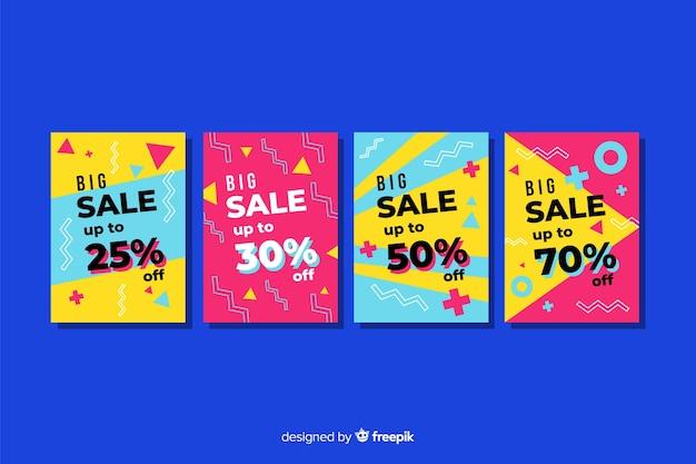 Collezione di modelli di banner vendita memphis