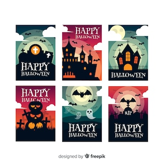Collezione di modelli di carta di halloween piatta