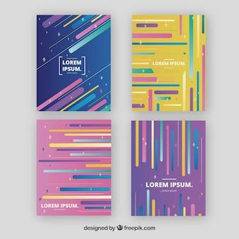 Collezione di modelli di copertina con linee colorate