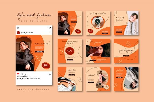 Collezione di modelli di feed post social puzzle di moda autunno