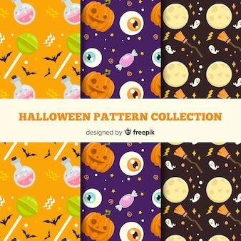Collezione di modelli di halloween con design piatto