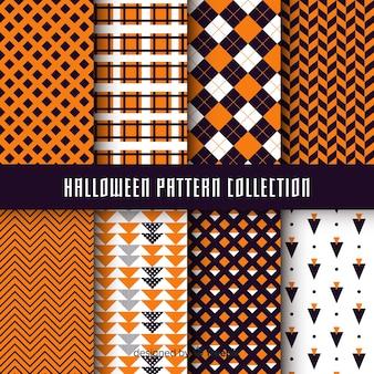 Collezione di modelli di halloween con disegno geometrico