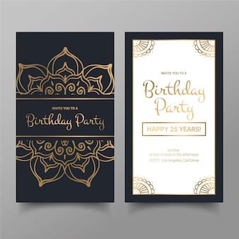 Collezione di modelli di invito compleanno elegante