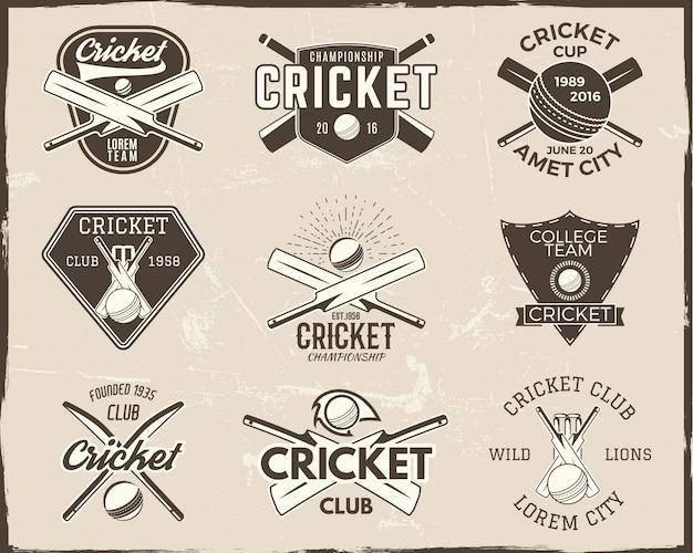 Collezione di modelli di logo di cricket. emblema sportivo