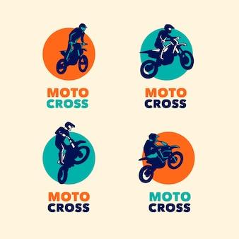 Collezione di modelli di logo di motocross
