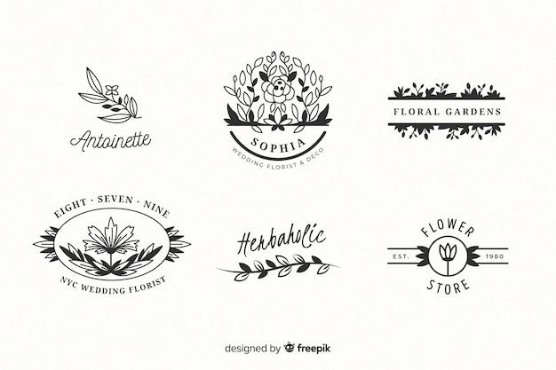 Collezione di modelli di logo fiorista matrimonio