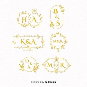 Collezione di modelli di logo monogramma di nozze