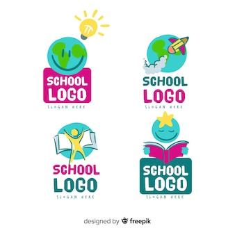 Collezione di modelli di logo scuola disegnato a mano