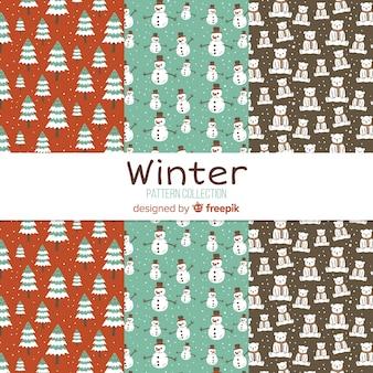 Collezione di modelli di piccoli elementi invernali