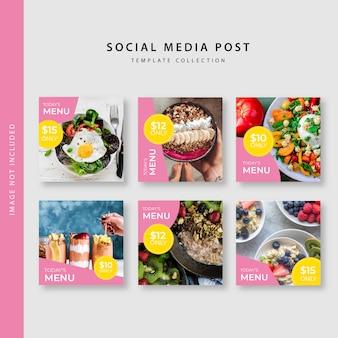 Collezione di modelli di post di instagram culinari