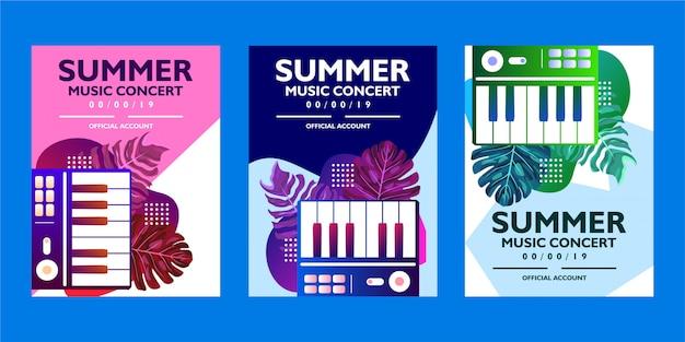 Collezione di modelli di poster di musica estiva concerto con foglie tropicali e forme di pianoforte