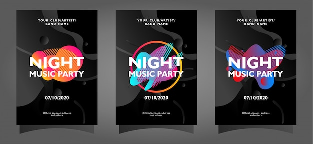 Collezione di modelli di poster di musica notte partito con forme astratte