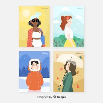 Collezione di modelli di poster stagionale dell'acquerello