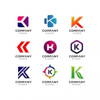 Collezione di modelli di progettazione di logo k lettera