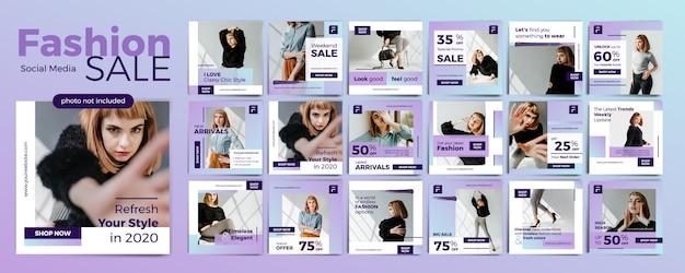 Collezione di modelli di social media banner di vendita di moda con un elegante tema viola