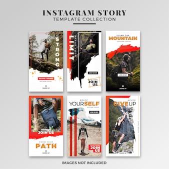 Collezione di modelli di storie di avventura instagram
