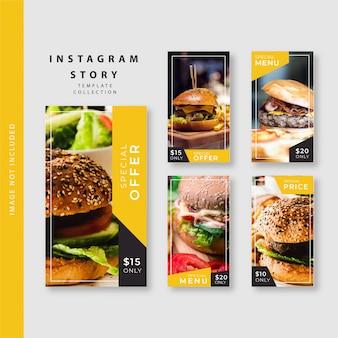 Collezione di modelli di storie di instagram culinari