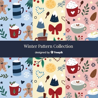 Collezione di modelli invernali disegnata a mano