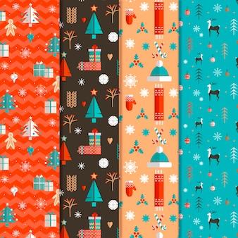 Collezione di modelli natalizi design piatto