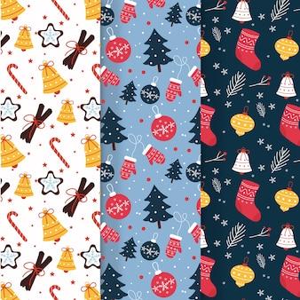 Collezione di modelli natalizi in design piatto
