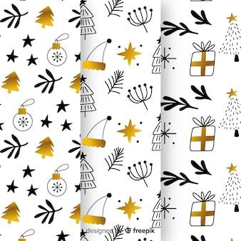Collezione di modelli natalizi neri e dorati