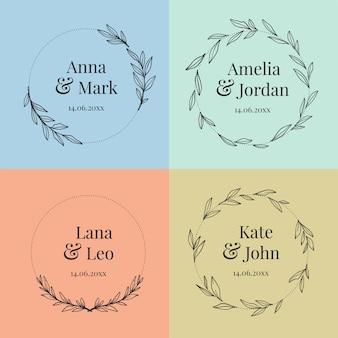 Collezione di monogrammi colorati di nozze