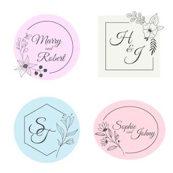 Collezione di monogrammi di matrimonio minimalista in colori pastello
