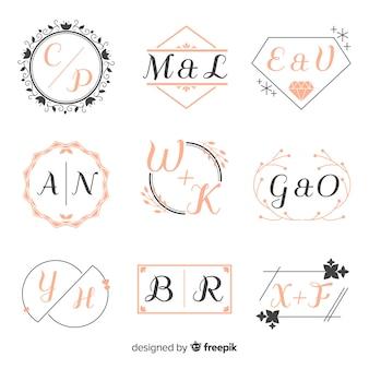 Collezione di monogrammi di nozze ornamentali