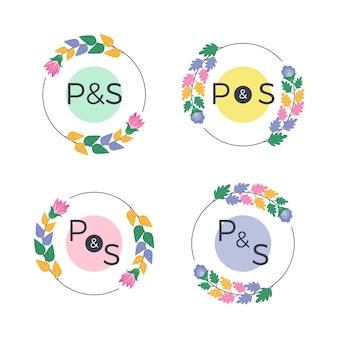 Collezione di monogrammi floreali di nozze