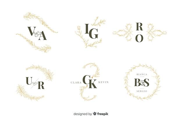 Collezione di monogrammi ornamentali di nozze