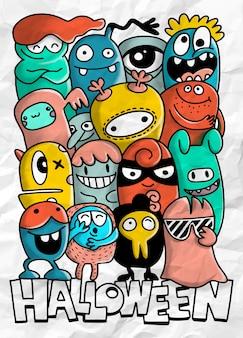 Collezione di mostri dei cartoni animati. insieme di vettore del gruppo di mostri del fumetto design per la stampa