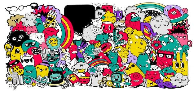 Collezione di mostri dei cartoni animati. insieme di vettore di progettazione del gruppo dei mostri del fumetto per la stampa, illustrazione della decorazione del partito