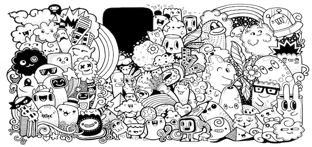 Collezione di mostri dei cartoni animati.