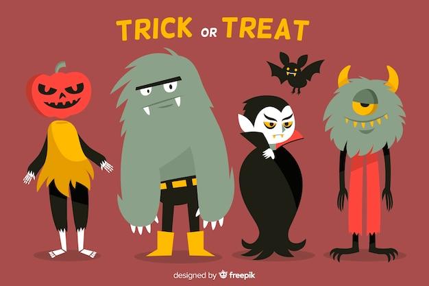 Collezione di mostri di halloween disegnati a mano
