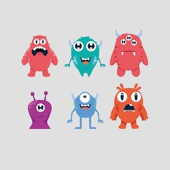 Collezione di mostri simpatico cartone animato