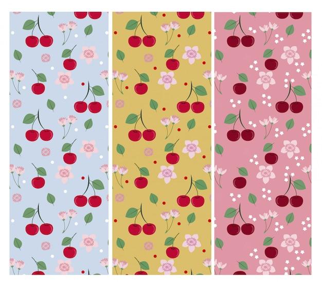 Collezione di motivi di ciliegie e foglie