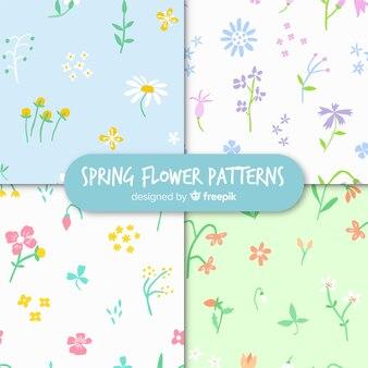 Collezione di motivi floreali primavera disegnata a mano
