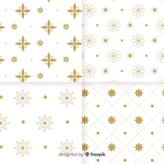 Collezione di motivi geometrici bianchi e dorati di lusso