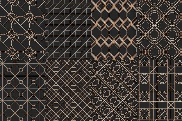 Collezione di motivi geometrici di lusso dorato